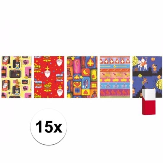 15 rollen Sinterklaas inpakpapier - cadeaupapier