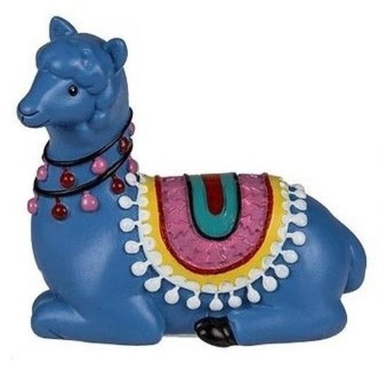 Blauwe dieren beeldje liggende alpaca 9 cm