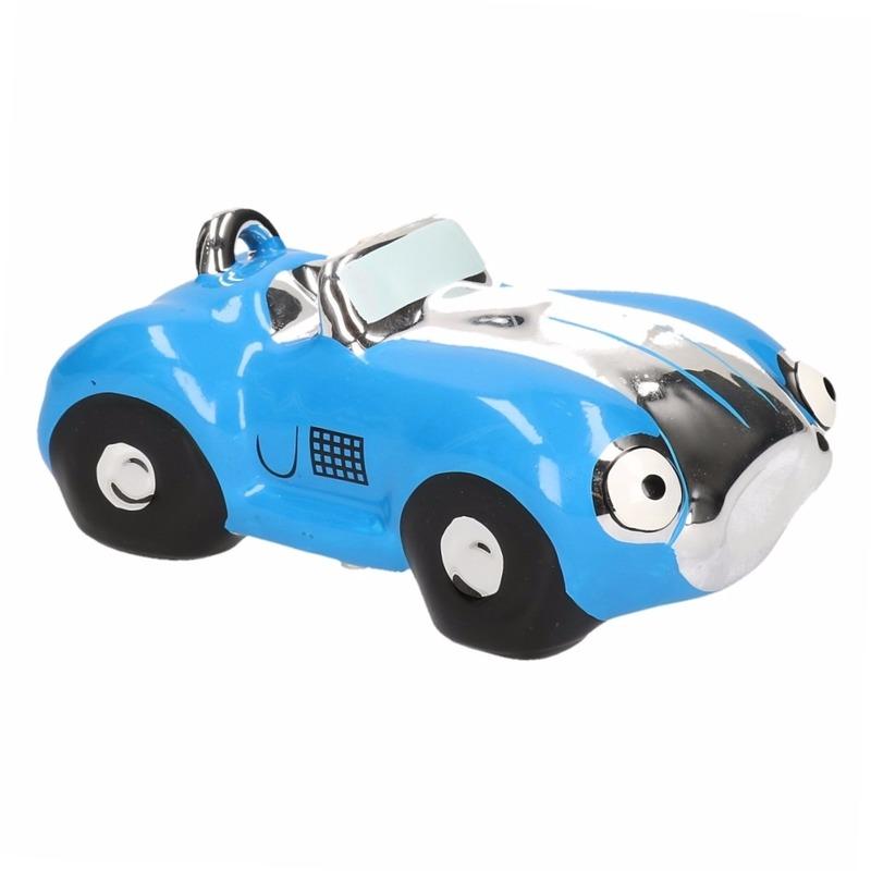 Blauwe jongens sportauto cabriolet spaarpot 15 cm