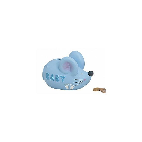 Blauwe spaarpot voor Baby in de vorm van een muis