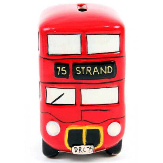Engelse bus spaarpot keramiek