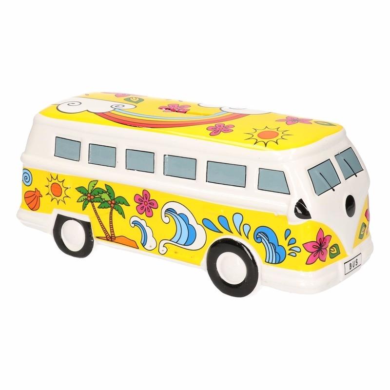 Gele hippie camper spaarpot porselein