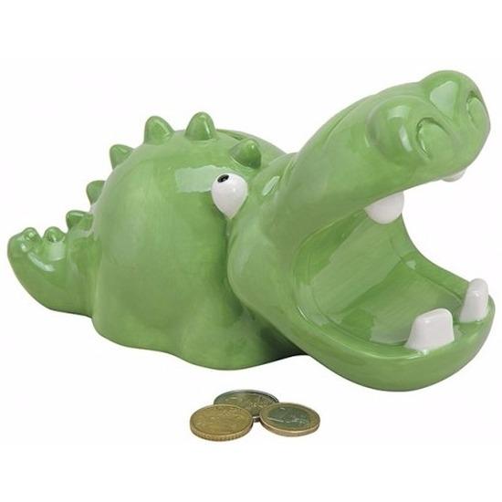 Groene krokodil spaarpot