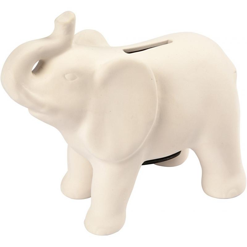 Hobby inkleurbare spaarpot Indiase olifant wit