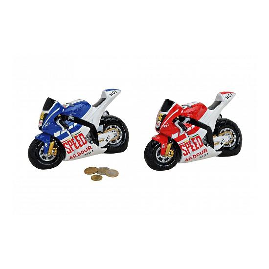 Race motoren spaarpot blauw
