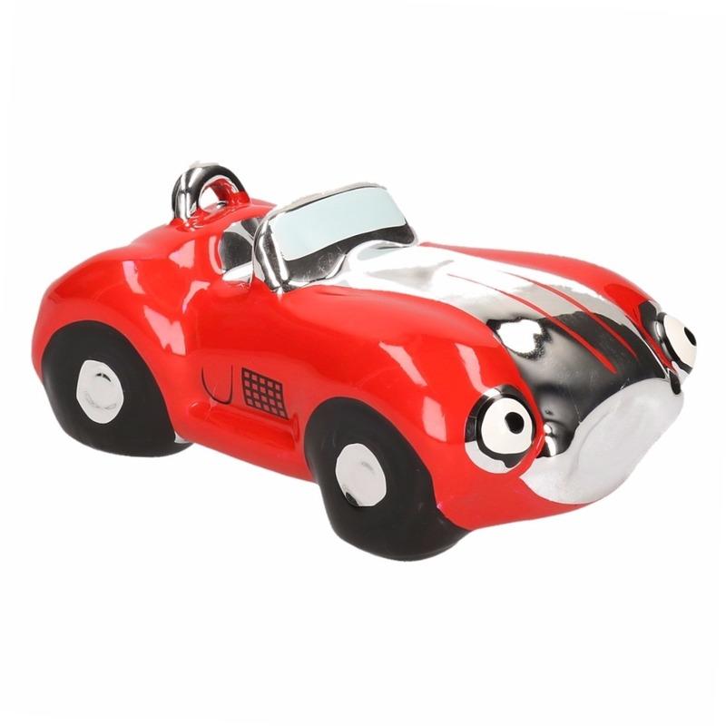 Rode jongens sportauto cabriolet spaarpot 15 cm
