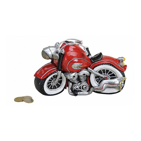 Rode motorfiets spaarpot 21 cm