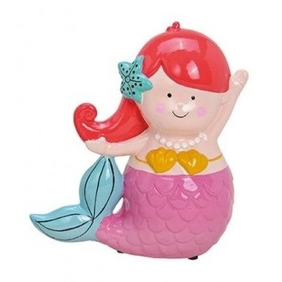 Roze met rode zeemeermin spaarpot 17 cm