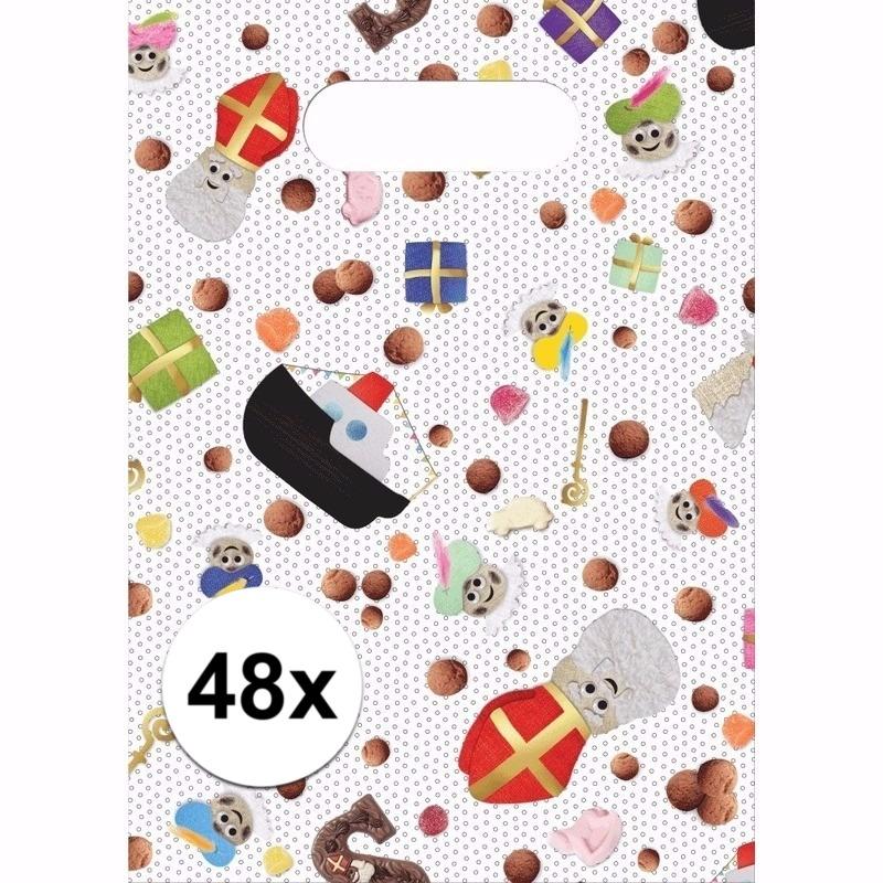 Sinterklaas snoepzakjes 48 stuks snoepjes print