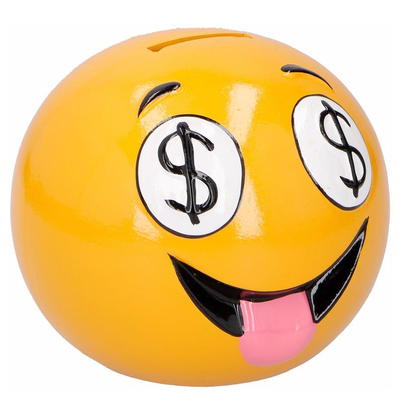 Smiley geld ogen spaarpot 12 cm