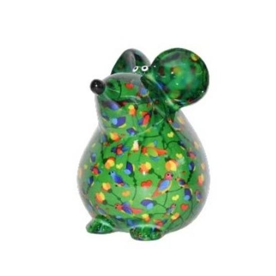 Spaarpot muis groen met vogeltjes print 17 cm