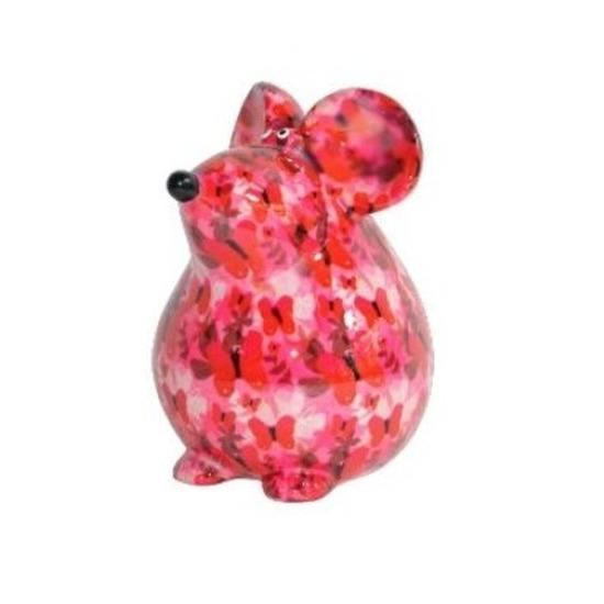 Spaarpot muis roze met bloemen print 17 cm