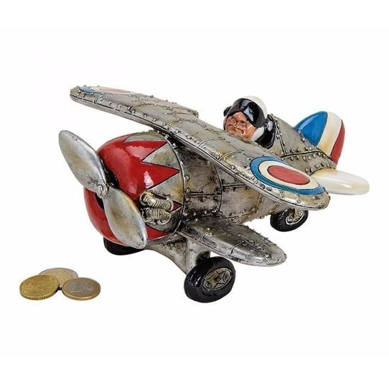 Zilveren spaarpot zweefvliegtuig 22 cm