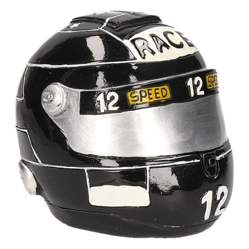 Zwarte race helm spaarpot