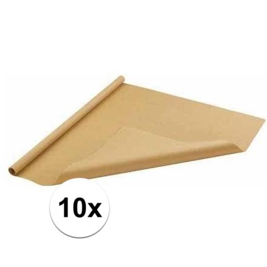 10x Bruin cadeaupapier 70 x 500 cm