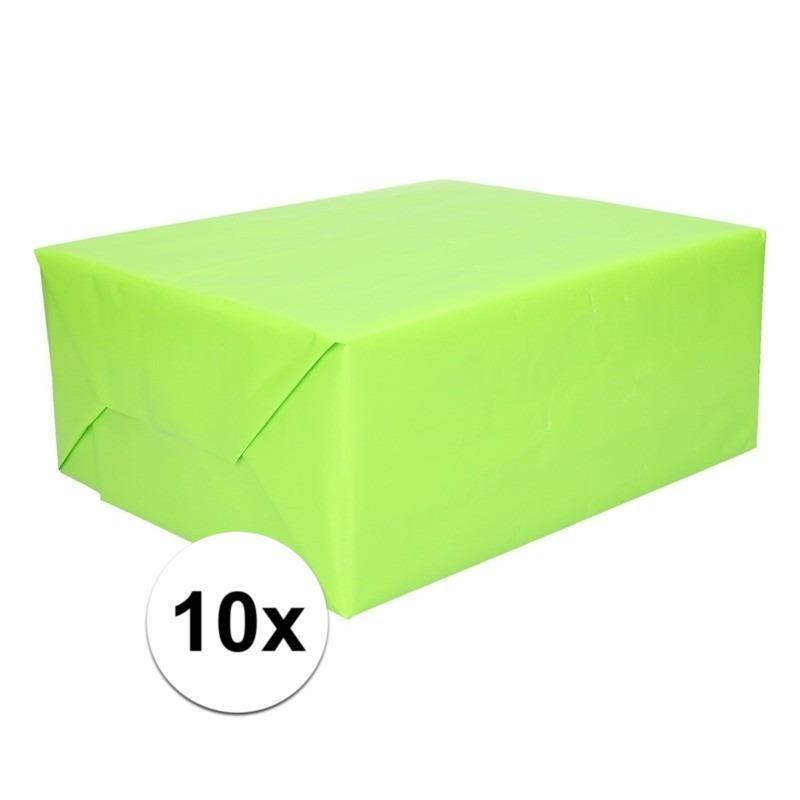 10x Cadeaupapier lime groen 200 cm
