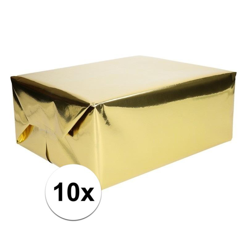 10x Folie kadopapier goud metallic 4 meter