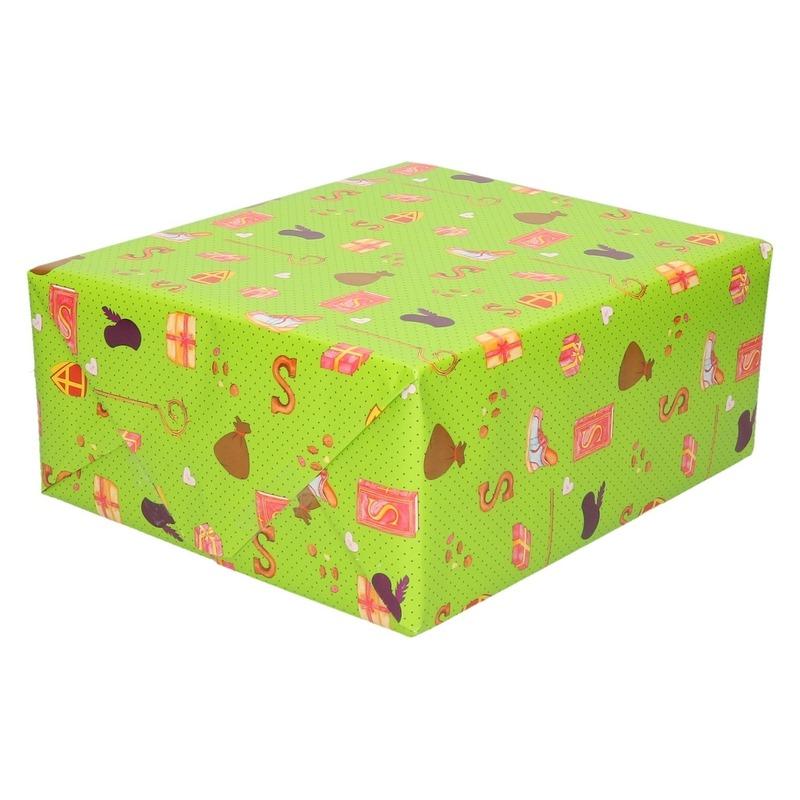 10x Inpakpapier/cadeaupapier Sinterklaas print groen