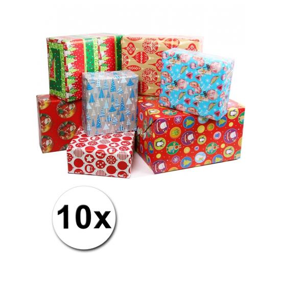 10x Kerstmis kadopapier/inpakpapier