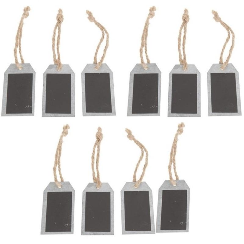 10x Krijtbord labels van zink 8 x 4,5 cm