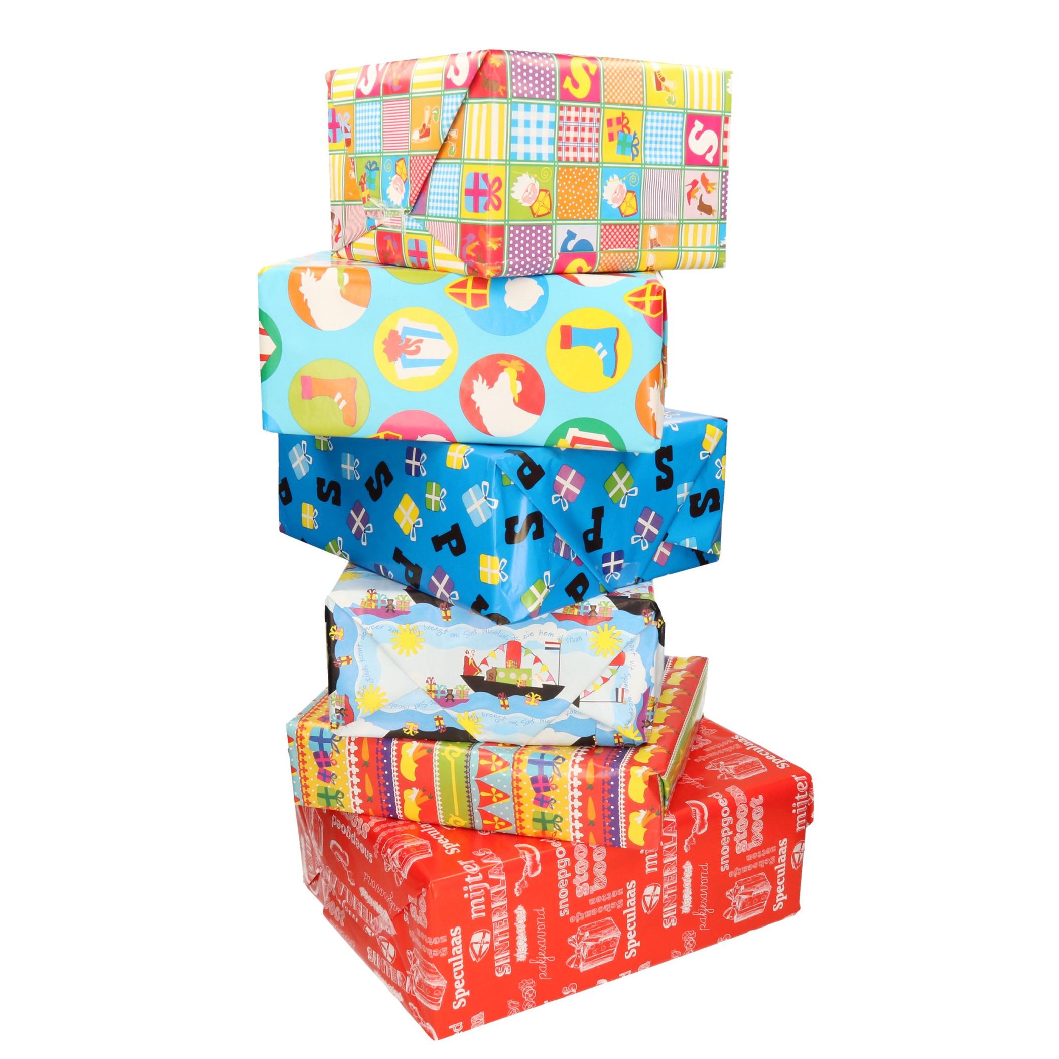 10x Sinterklaas inpakpapier/cadeaupapier