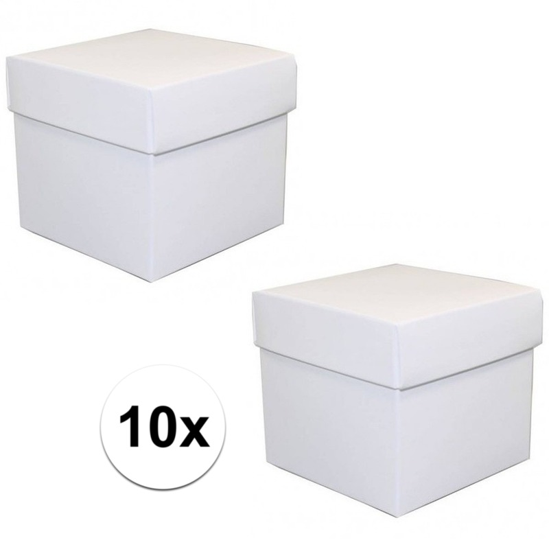 10x stuks witte cadeaudoosjes/kadodoosjes 10 cm vierkant