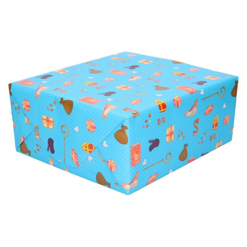 15x Inpakpapier/cadeaupapier Sinterklaas print lichtblauw