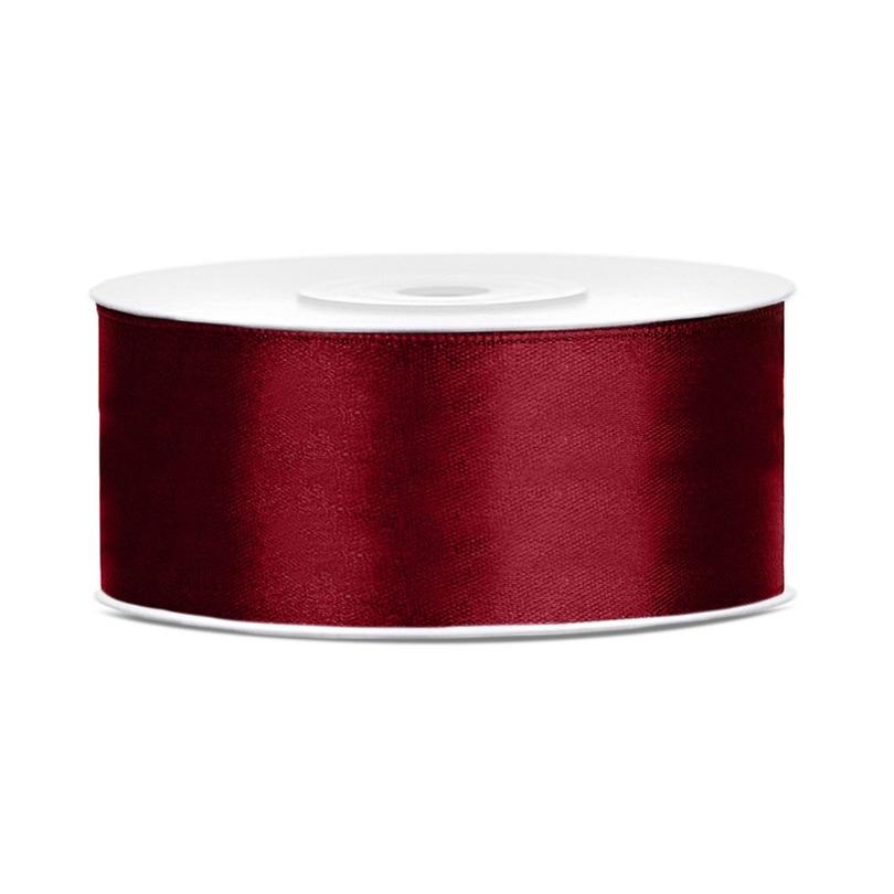 1x Bordeaux rood satijnlint op rol 2,5 cm x 25 meter cadeaulint verpakkingsmateriaal