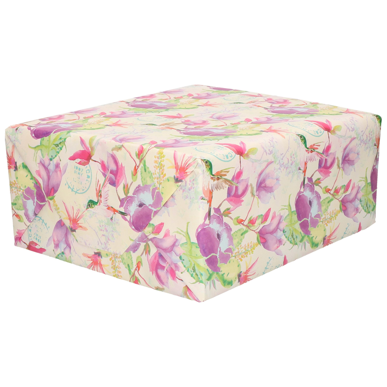 1x Cadeaupapier creme met paars vogel/bloemen motief 70 x 200 cm