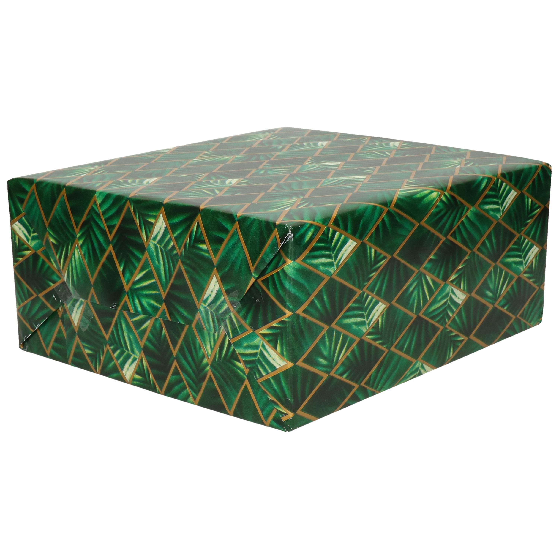 1x Cadeaupapier groen met gouden ruit en blad motief 70 x 200 cm