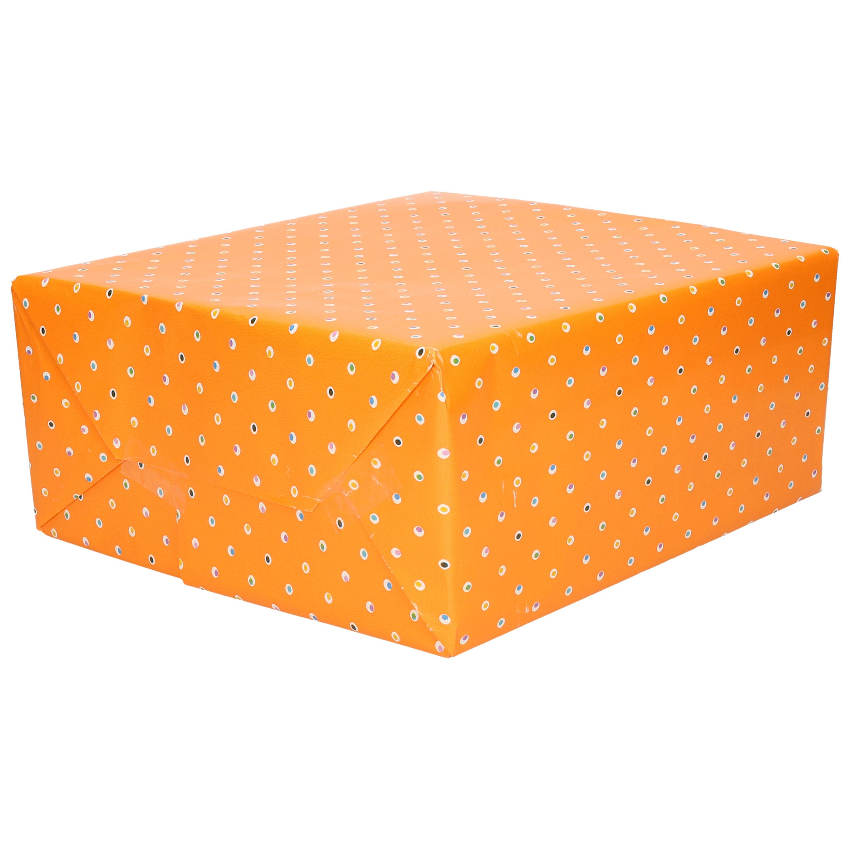 1x Cadeaupapier oranje met stippen motief 70 x 200 cm