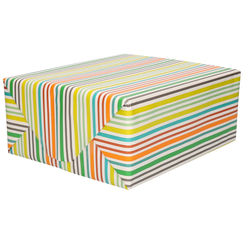 1x Cadeaupapier wit met gekleurde strepen motief 70 x 200 cm