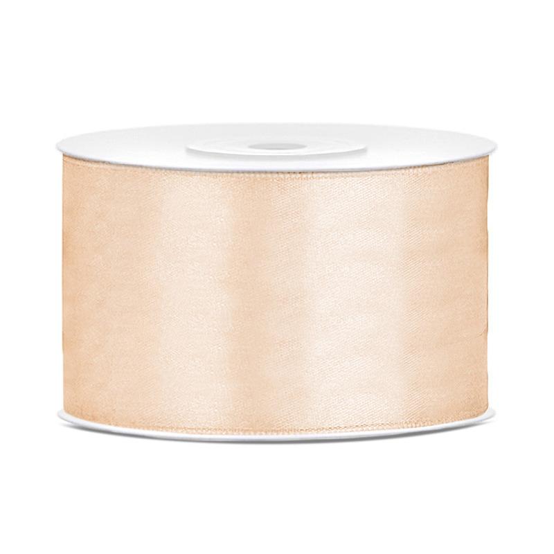 1x Creme satijnlint rollen 3,8 cm x 25 meter cadeaulint verpakkingsmateriaal