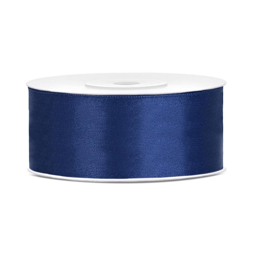 1x Donkerblauwe satijnlint op rol 2,5 cm x 25 meter cadeaulint verpakkingsmateriaal
