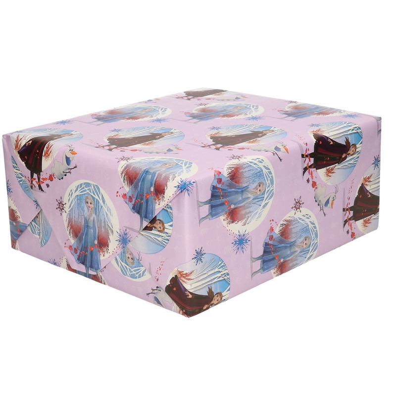 1x Frozen geschenkpapier lila 200 x 70 cm rollen