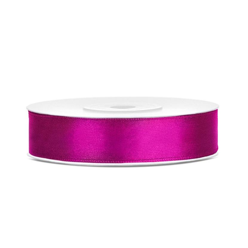 1x Fuchsia roze satijnlint rollen 1,2 cm x 25 meter cadeaulint verpakkingsmateriaal