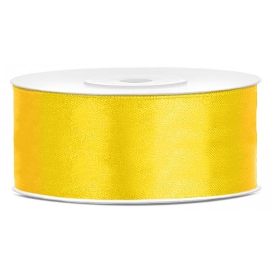 1x Gele satijnlint rol 2,5 cm x 25 meter cadeaulint verpakkingsmateriaal
