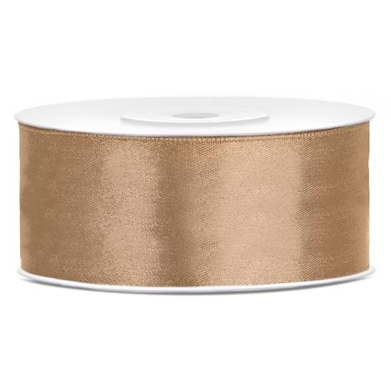 1x Goud satijnlint rol 2,5 cm x 25 meter cadeaulint verpakkingsmateriaal