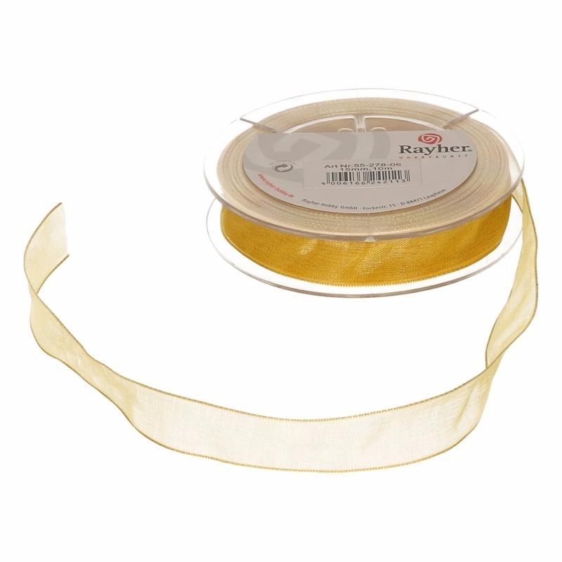 1x Gouden organzalint rollen 1,5 cm x 10 meter cadeaulint/kadolint verpakkingsmateriaal