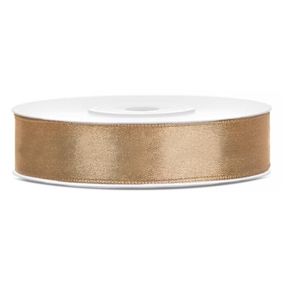 1x Gouden satijnlint rol 1,2 cm x 25 meter cadeaulint verpakkingsmateriaal