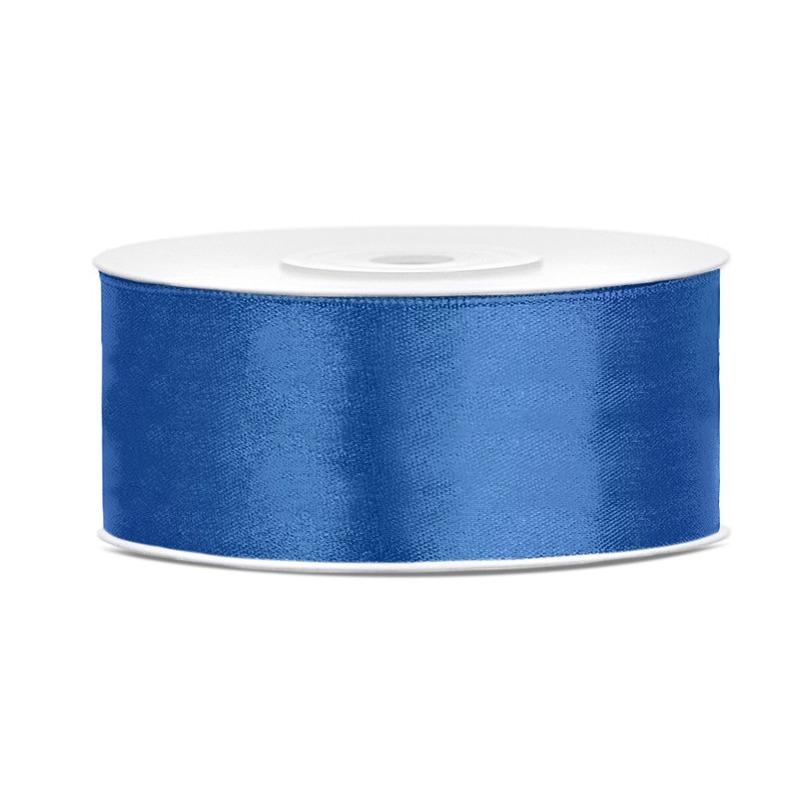 1x Helderblauw satijnlint op rol 2,5 cm x 25 meter cadeaulint verpakkingsmateriaal