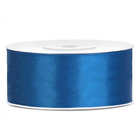 1x Kobalt blauw satijnlint rol 2,5 cm x 25 meter cadeaulint verpakkingsmateriaal