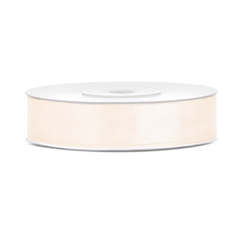 1x Licht creme satijnlint rollen 1,2 cm x 25 meter cadeaulint verpakkingsmateriaal