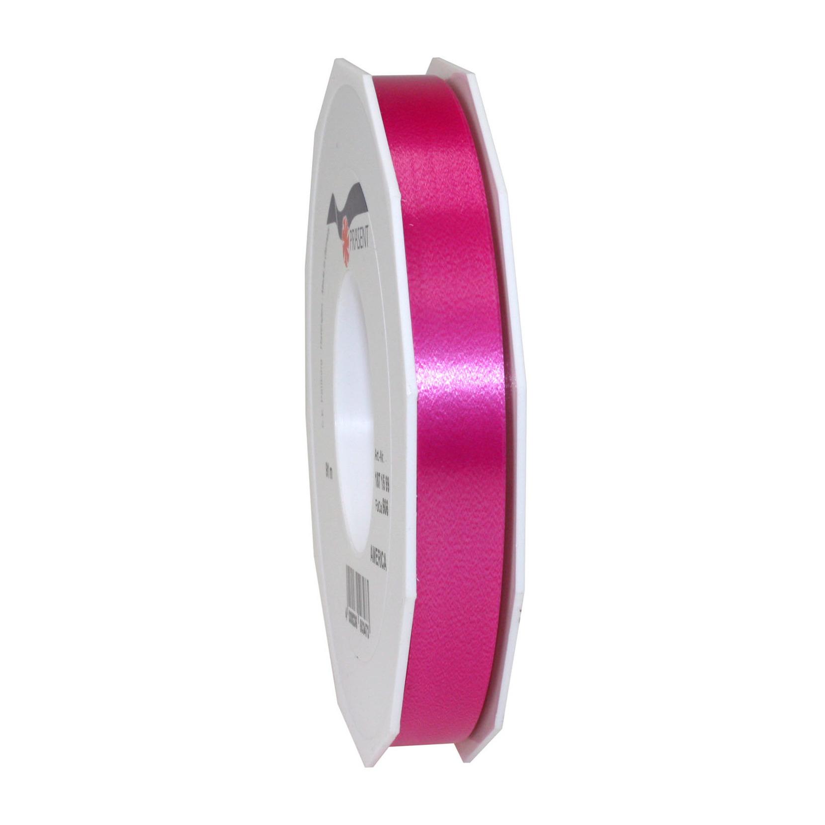 1x Luxe fuchsia roze satijnlint rollen 1,5 cm x 91 meter cadeaulint verpakkingsmateriaal