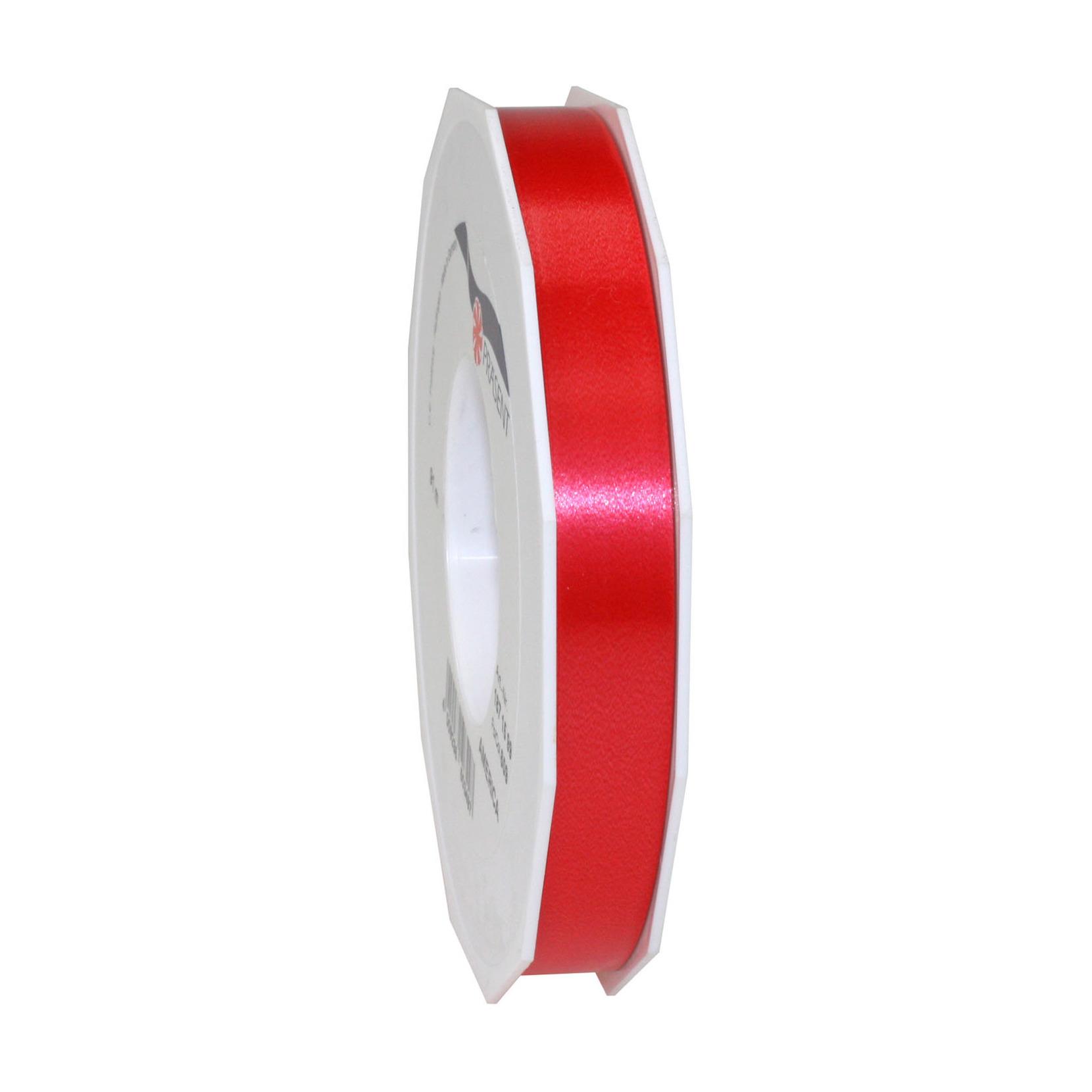 1x Luxe rode kunststof lint rollen 1,5 cm x 91 meter cadeaulint verpakkingsmateriaal