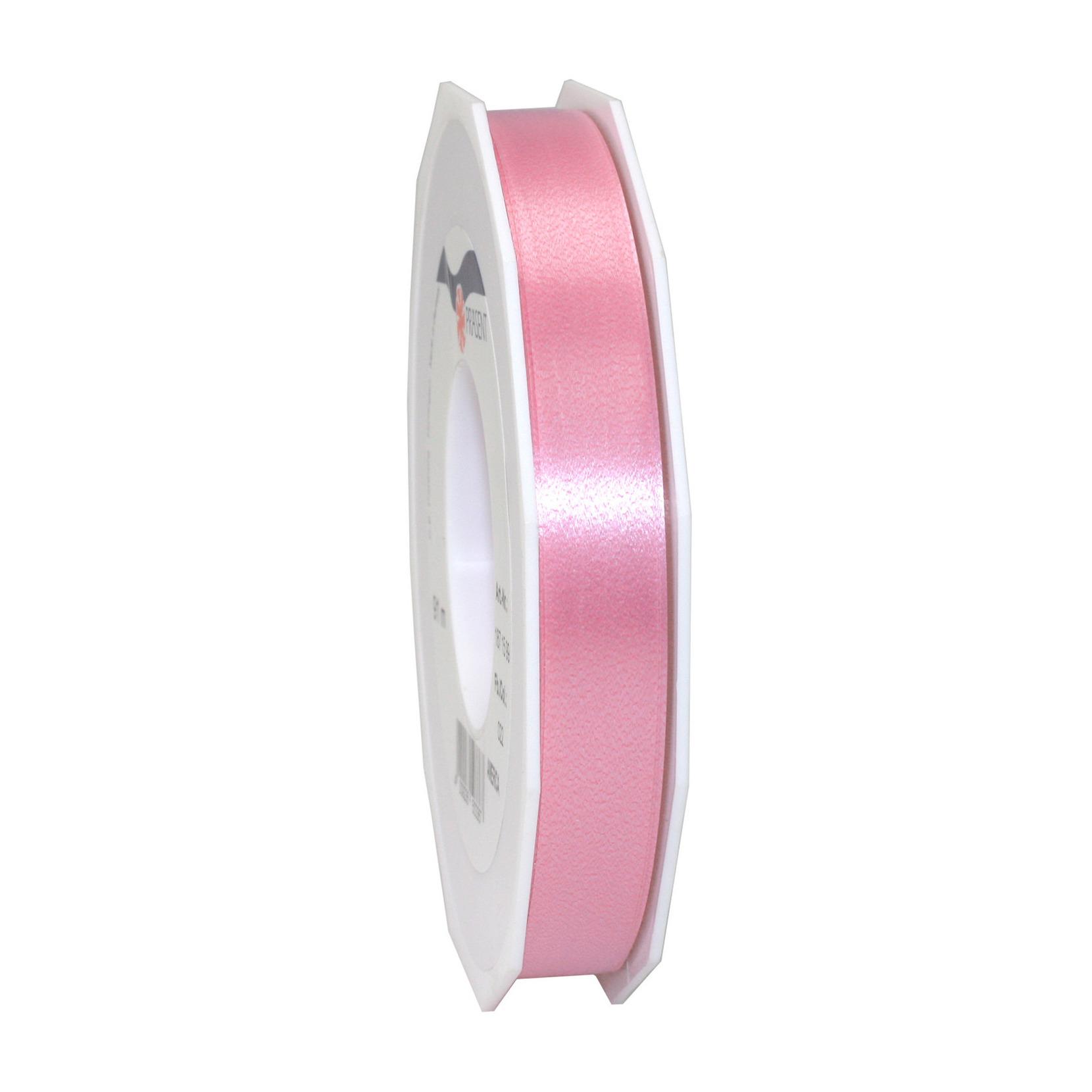1x Luxe roze satijnlint rollen 1,5 cm x 91 meter cadeaulint verpakkingsmateriaal
