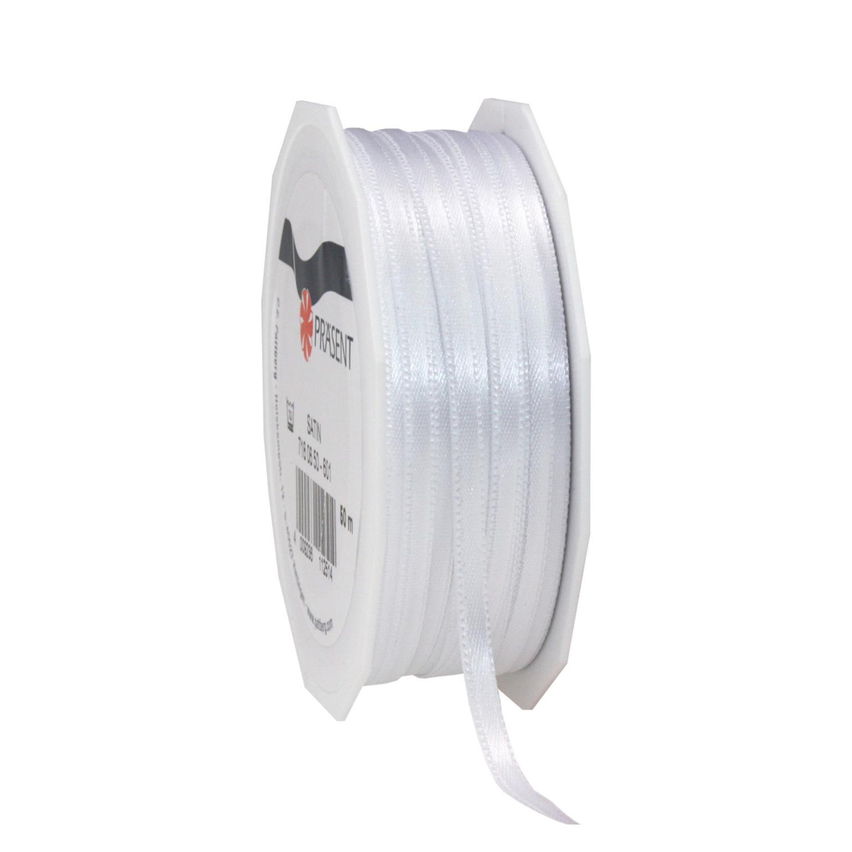1x Luxe witte satijnen lint rollen 0,3 cm x 50 meter cadeaulint verpakkingsmateriaal