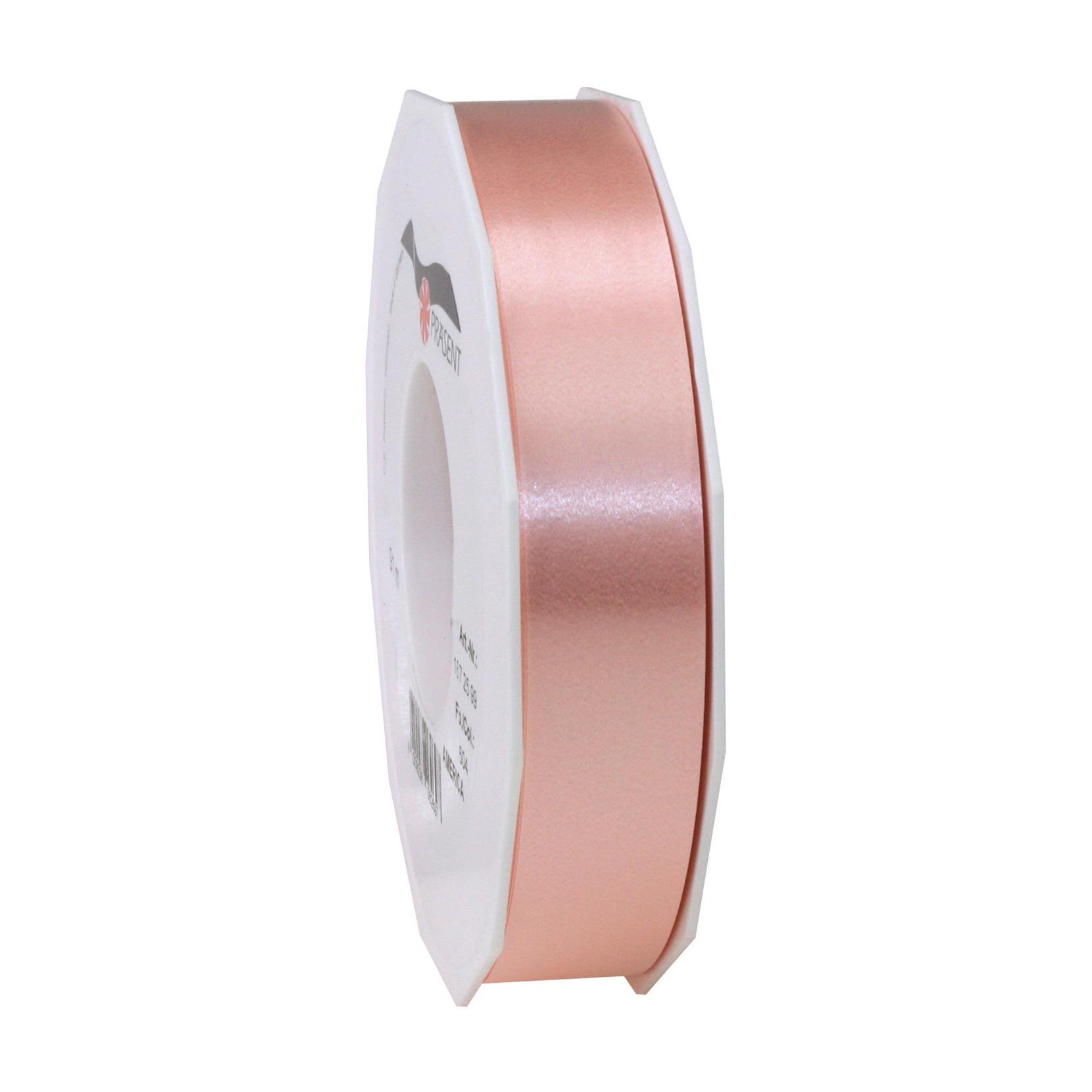 1x Luxe zalmroze kunststof lint rollen 2,5 cm x 91 meter cadeaulint verpakkingsmateriaal