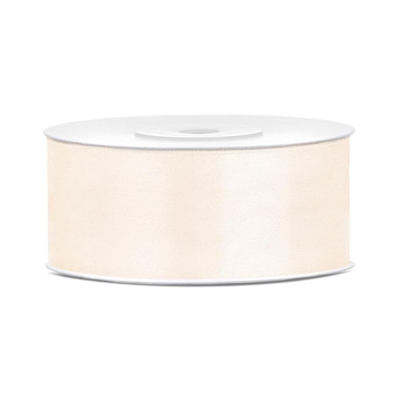 1x Off white satijnlint op rol 2,5 cm x 25 meter cadeaulint verpakkingsmateriaal
