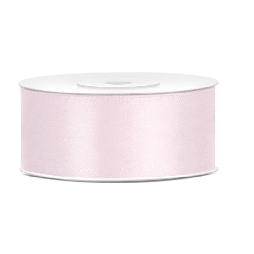 1x Poeder roze satijnlintop rol 2,5 cm x 25 meter cadeaulint verpakkingsmateriaal